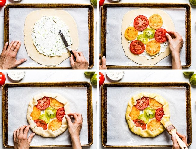 Person showing how to assemble goat cheese tomato galette