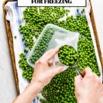 Person filling a plastic bag with blanched peas