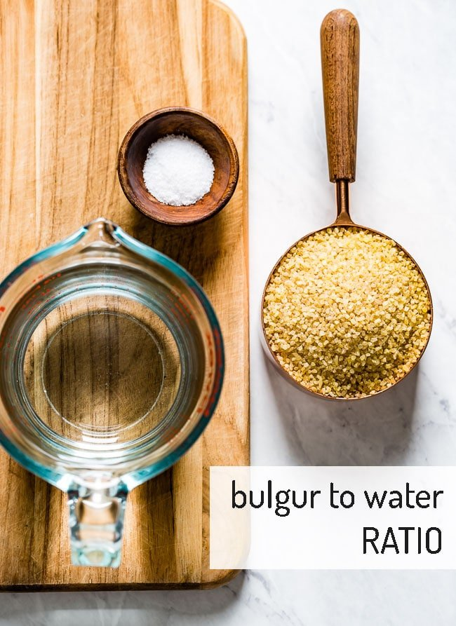 Water, salt, and bulgur showing the ratio of bulgur to water