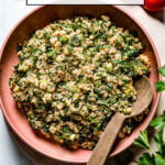 Easy Tabbouleh Salad in a bowl with text over the photo