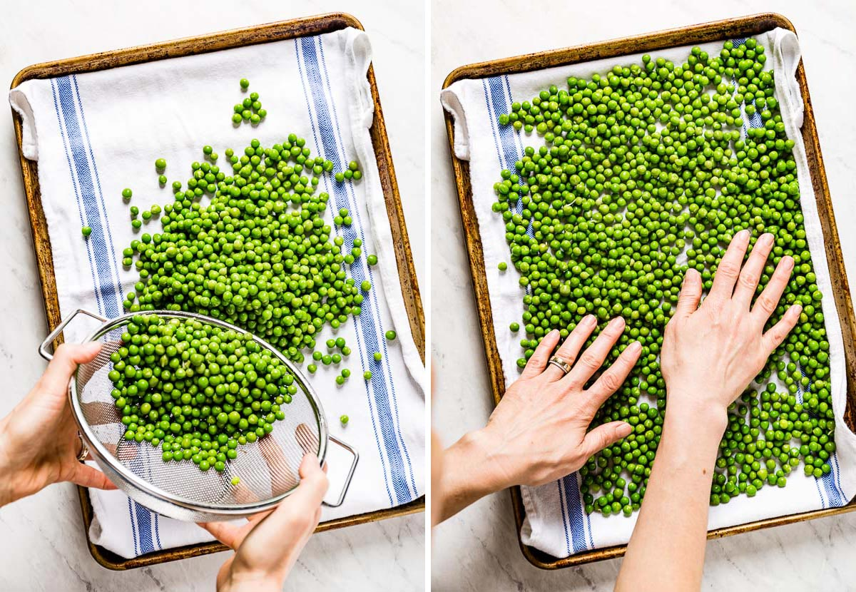 Person spreading blanched green peas on a sheet pan