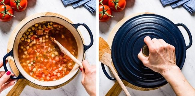 person cooking bulgur pilav in a pan