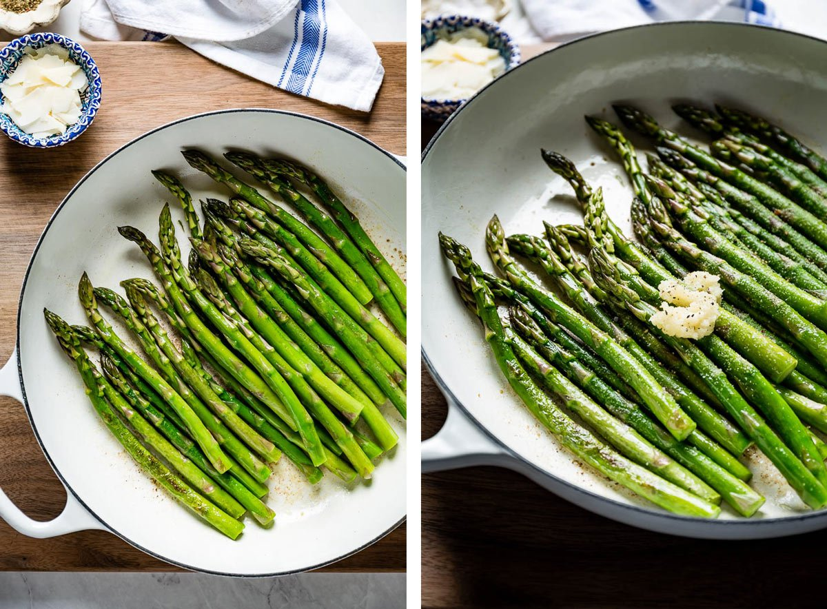 Showing how to sautee asparagus in a skillet