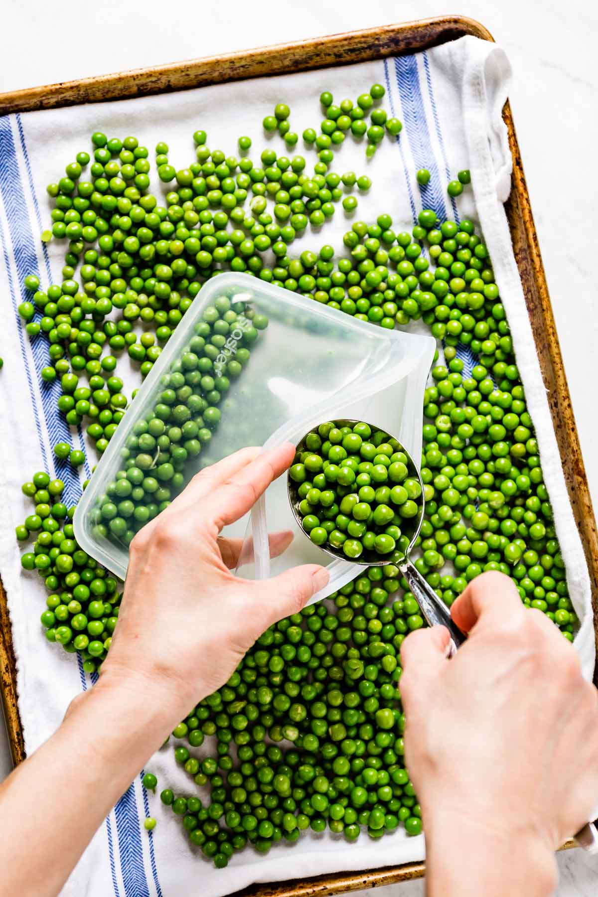 Person placing blanched peas into freezer bag