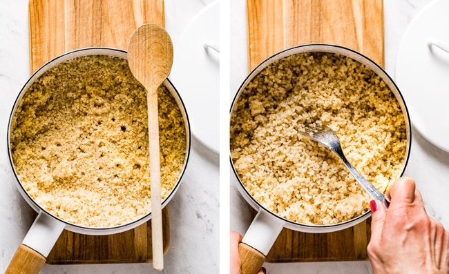 Person fluffing cooked bulgur wheat with a fork