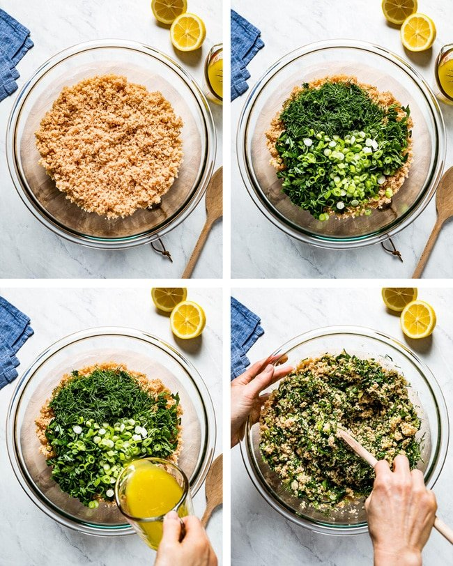 person showing how to make bulgur wheat salad with step by step photos