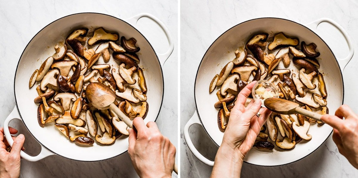 Person cooking mushrooms with garlic in a skillet