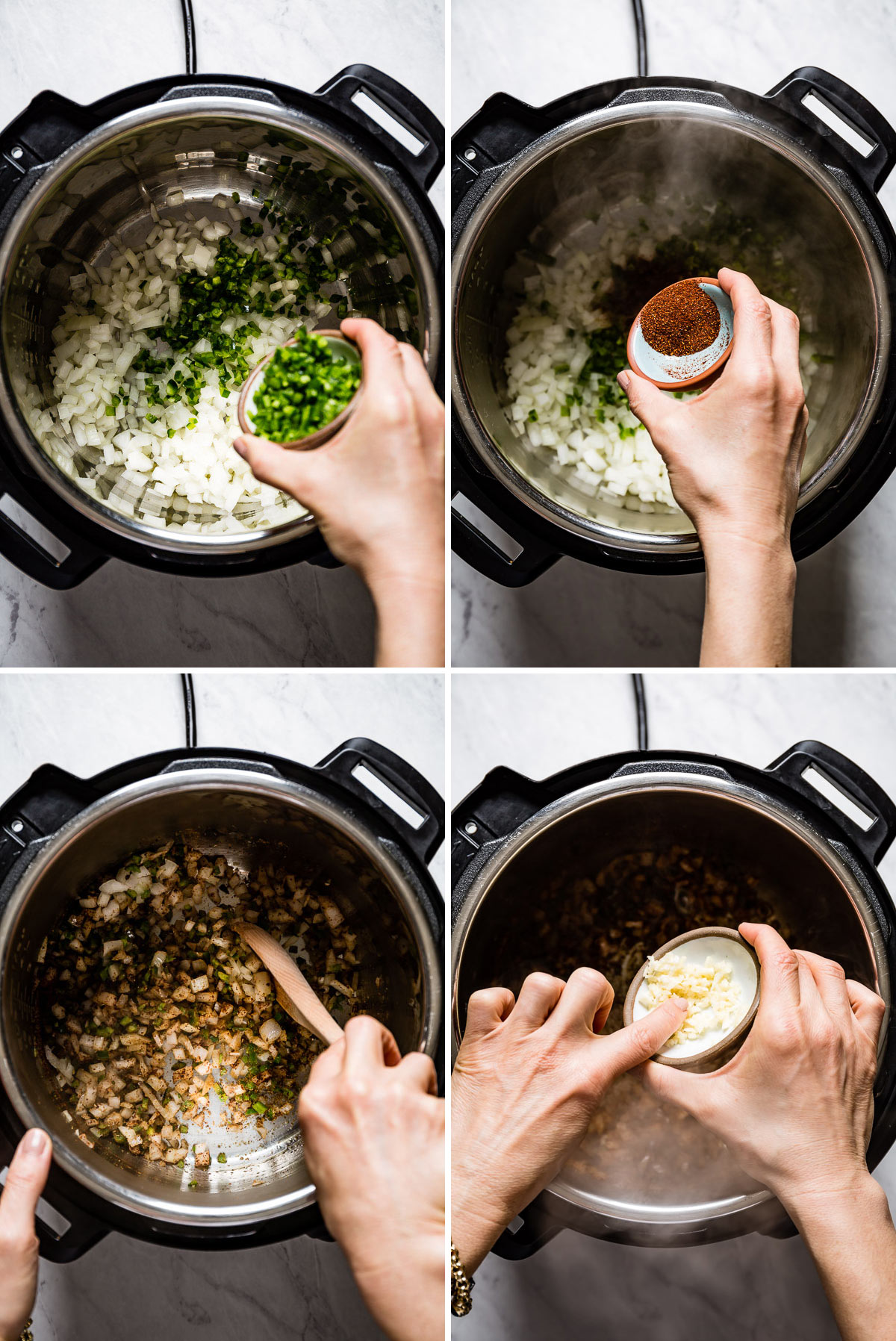 Person showing the steps of making white chicken chili in Instant pot