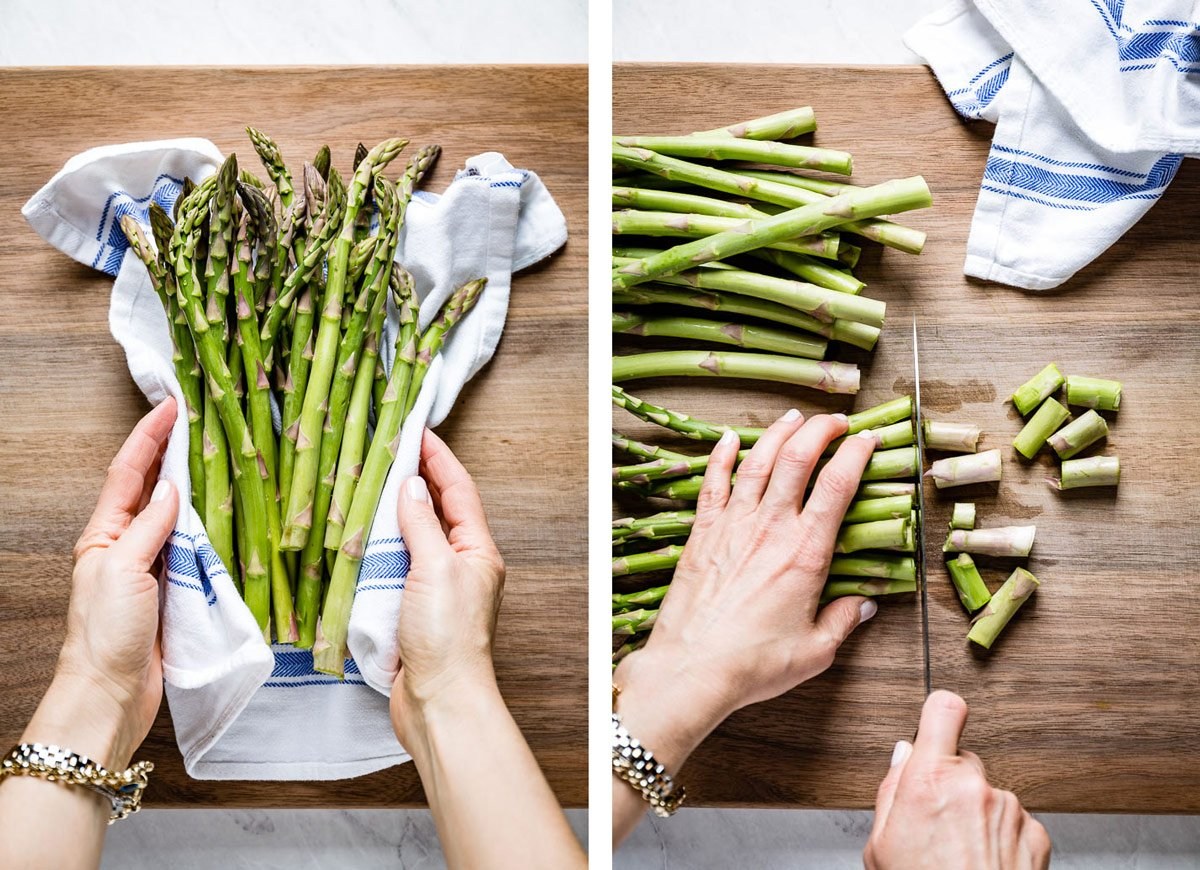 Person showing how to prepare asparagus by drying and trimming it