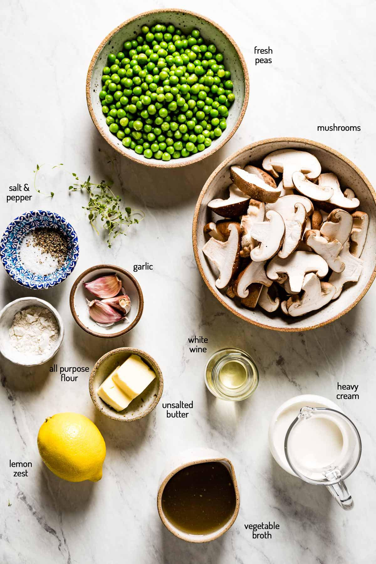 Ingredients for the recipe laid out on a marble backdrop
