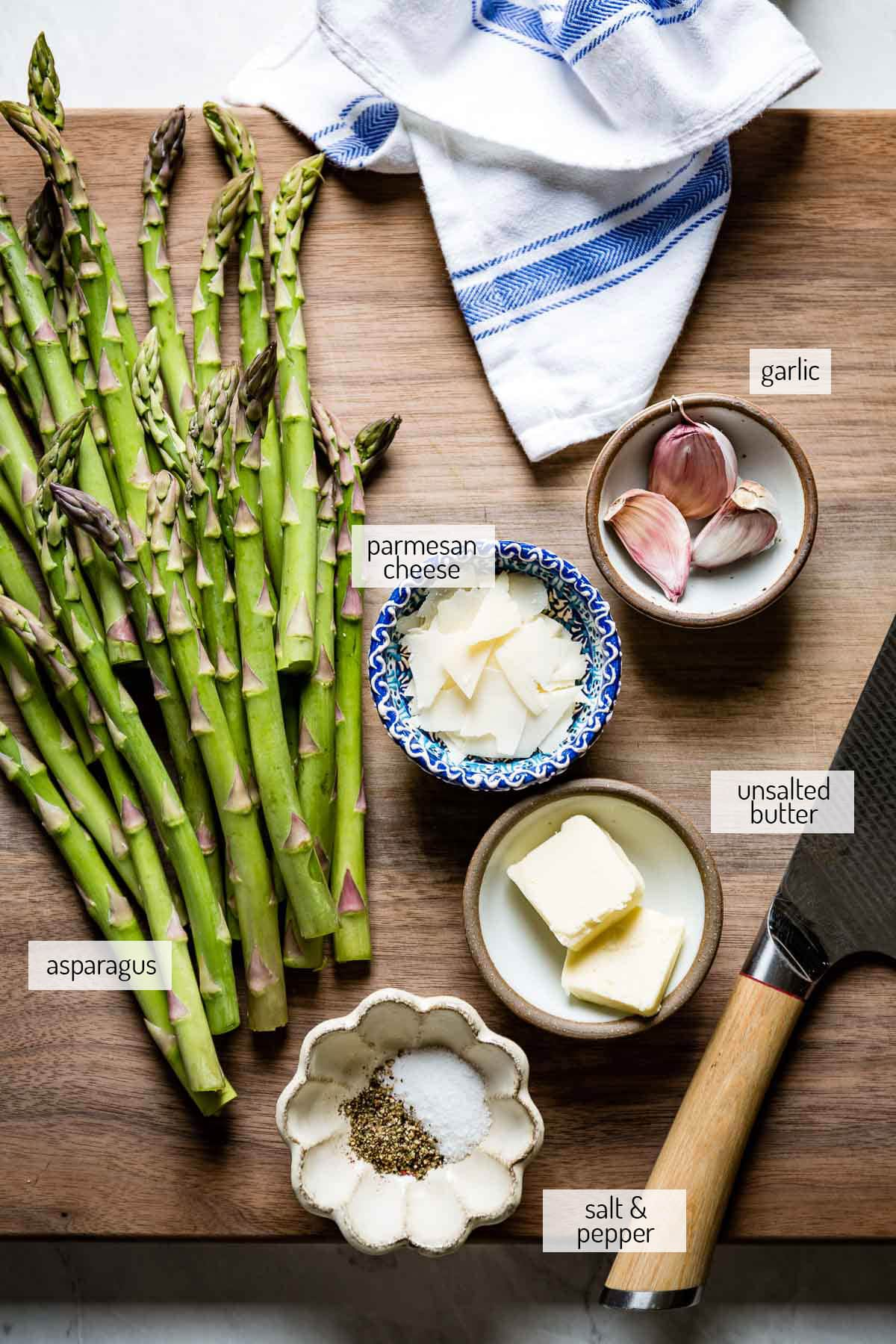 Ingredients to make the recipe on a cutting board