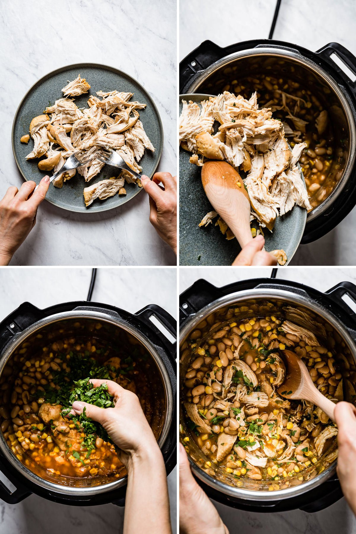 Person shredding chicken and putting it back in the instant pot