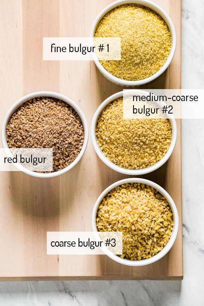 Types of bulgur wheat in small cips with their respective names on each side