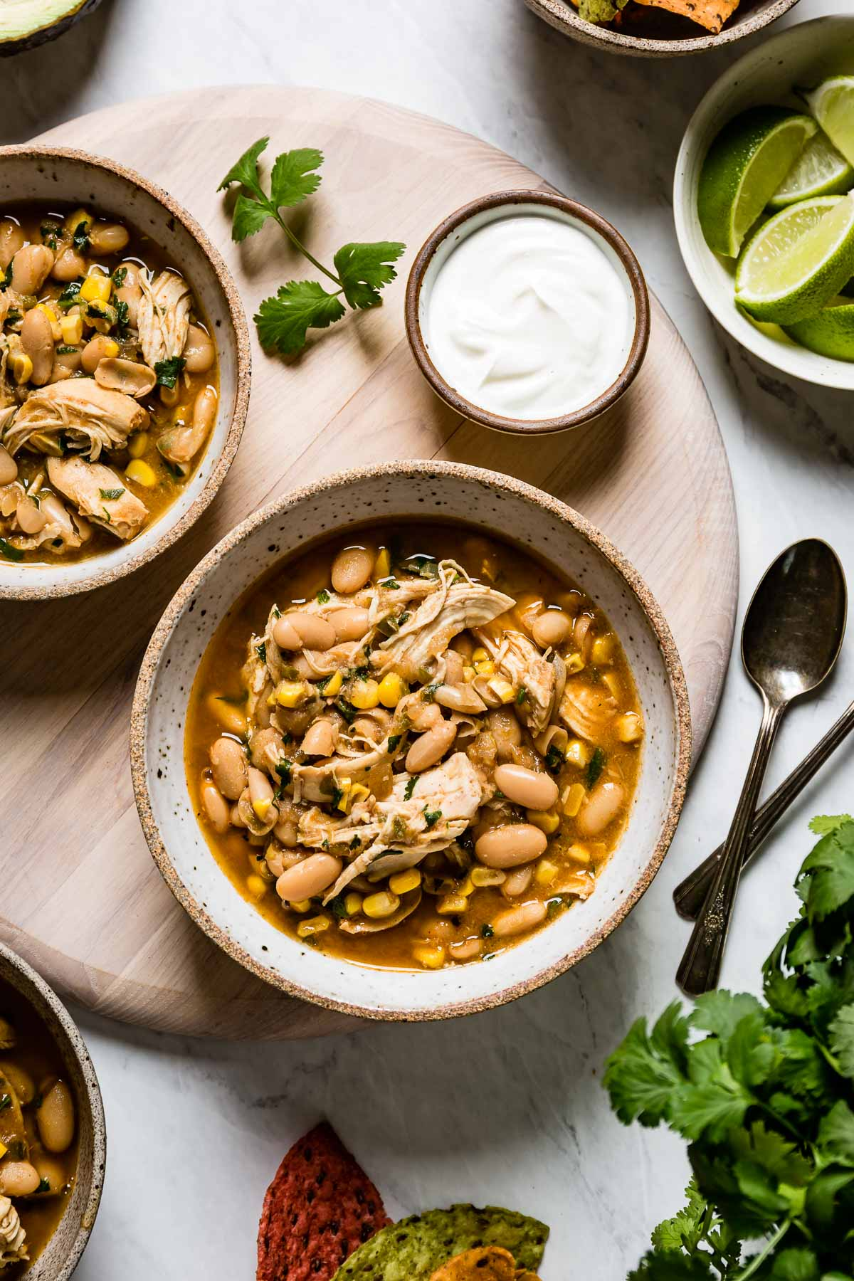 Two bowls of White chicken chili made in instant pot from the top
