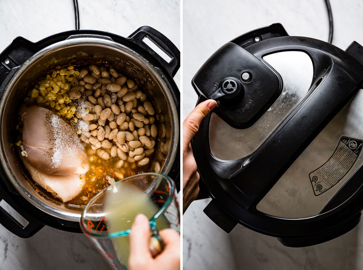 Person pouring chicken stock in the pressure cooker and setting it to cook
