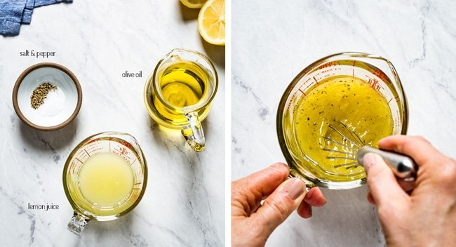 Person whisking tabouli dressing with lemon juice, olive oil, and salt and pepper