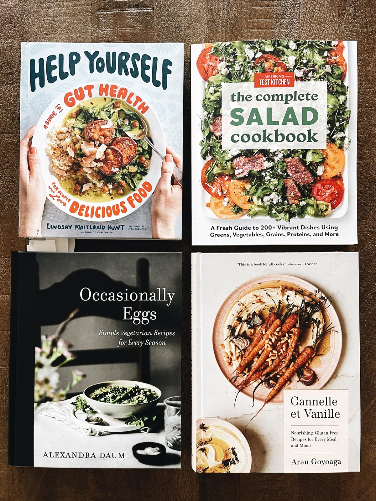 Four Cookbooks placed next to each other
