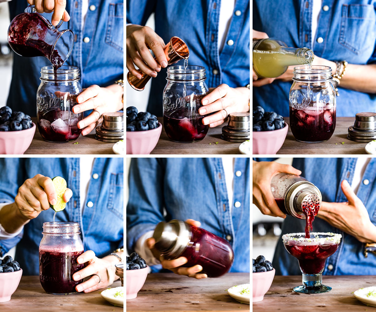Person showing how to make blueberry margaritas on the rocks step by step photos