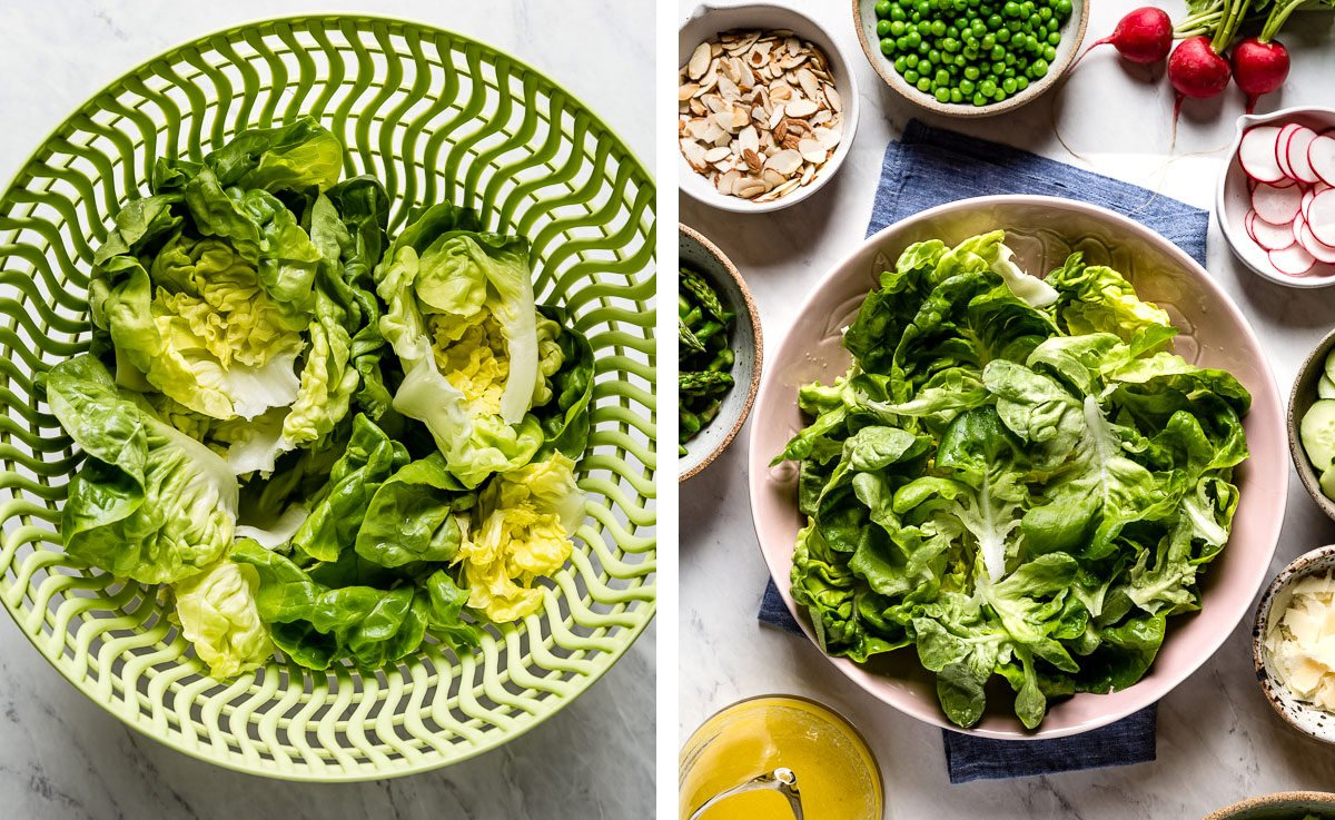 Boston lettuce leaves in a colander and then in a salad bowl (2 images side by side)