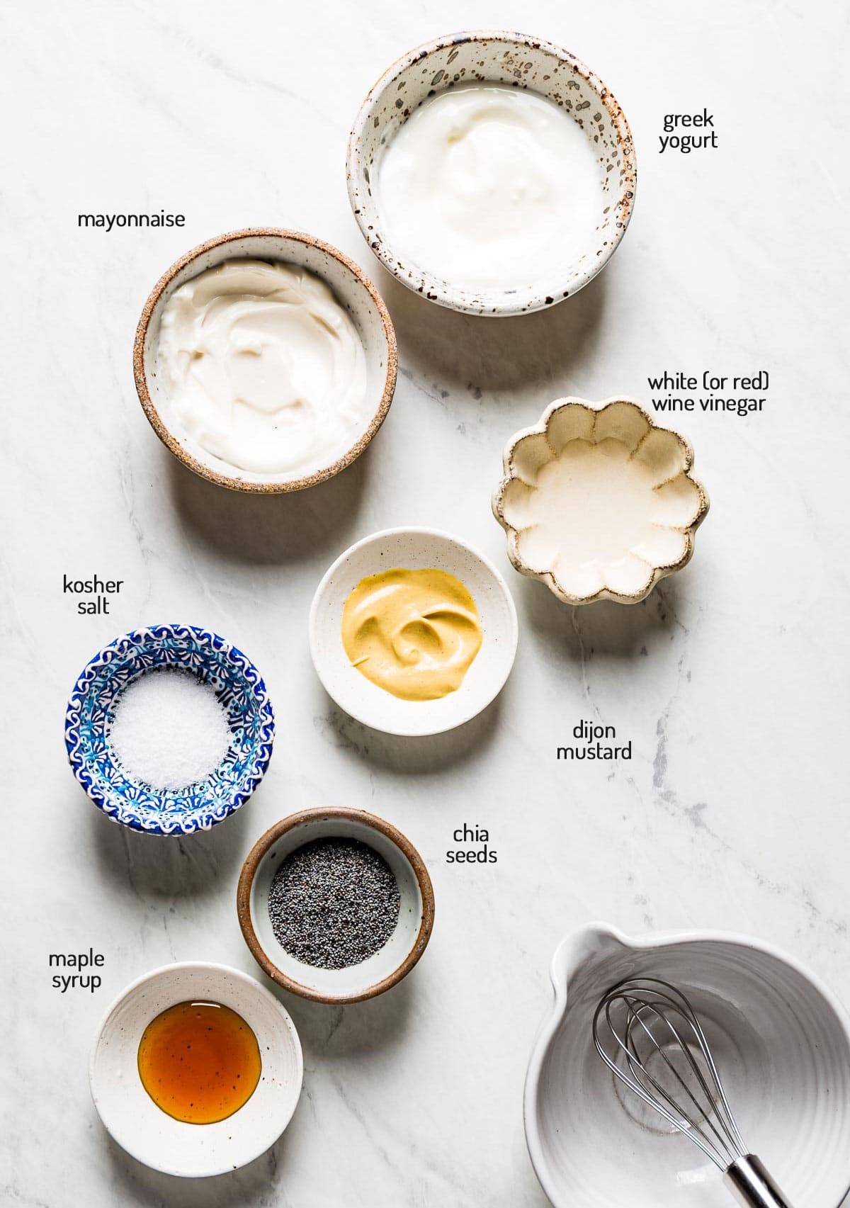 Ingredients for the recipe photographed on a white marble