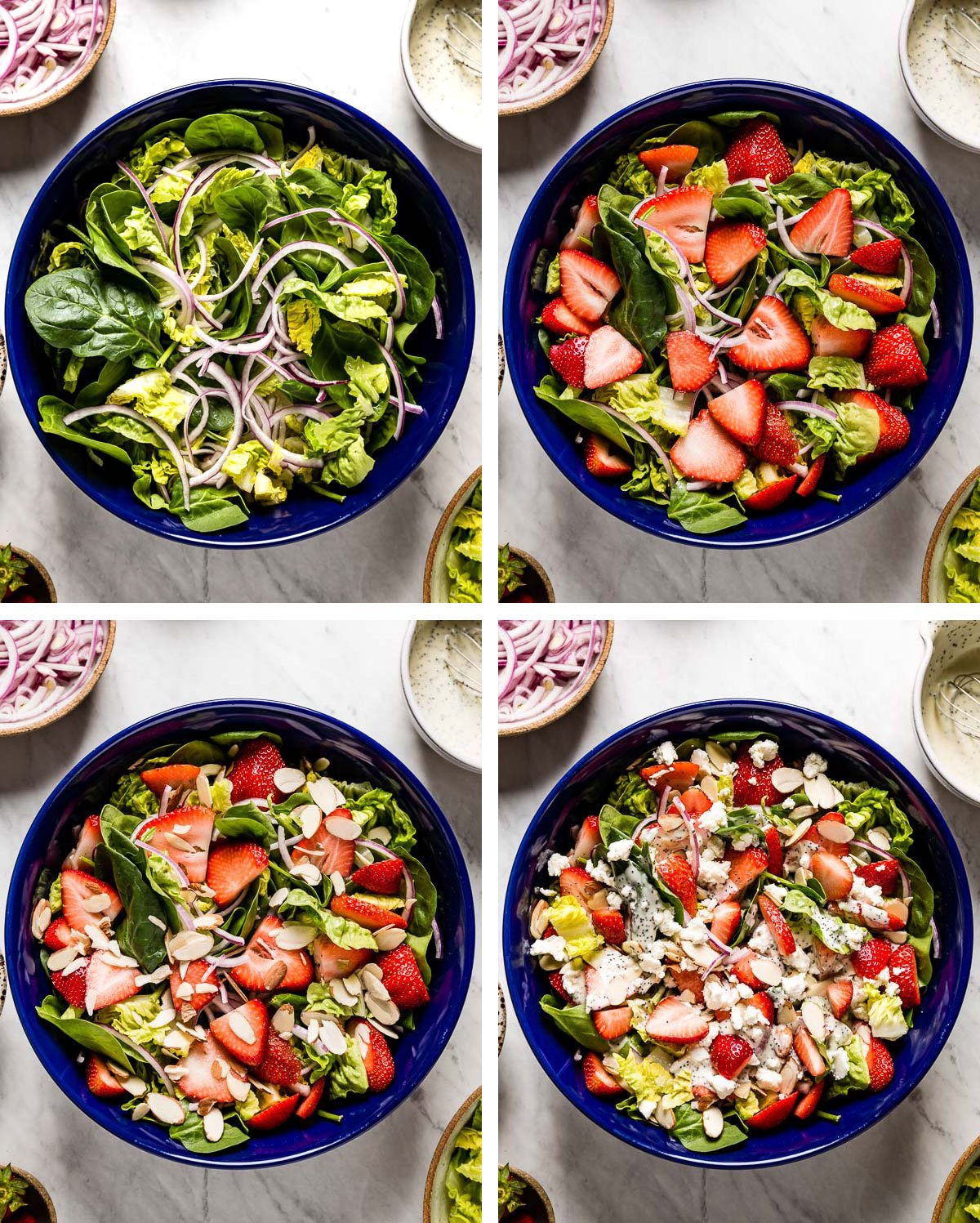 A collage of photos showing how to make strawberry salad