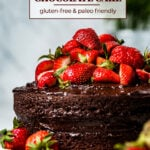Paleo Birthday Cake topped off with strawberries