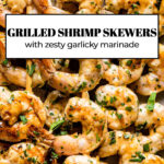 Barbeque Shrimp Skewers with text on the image