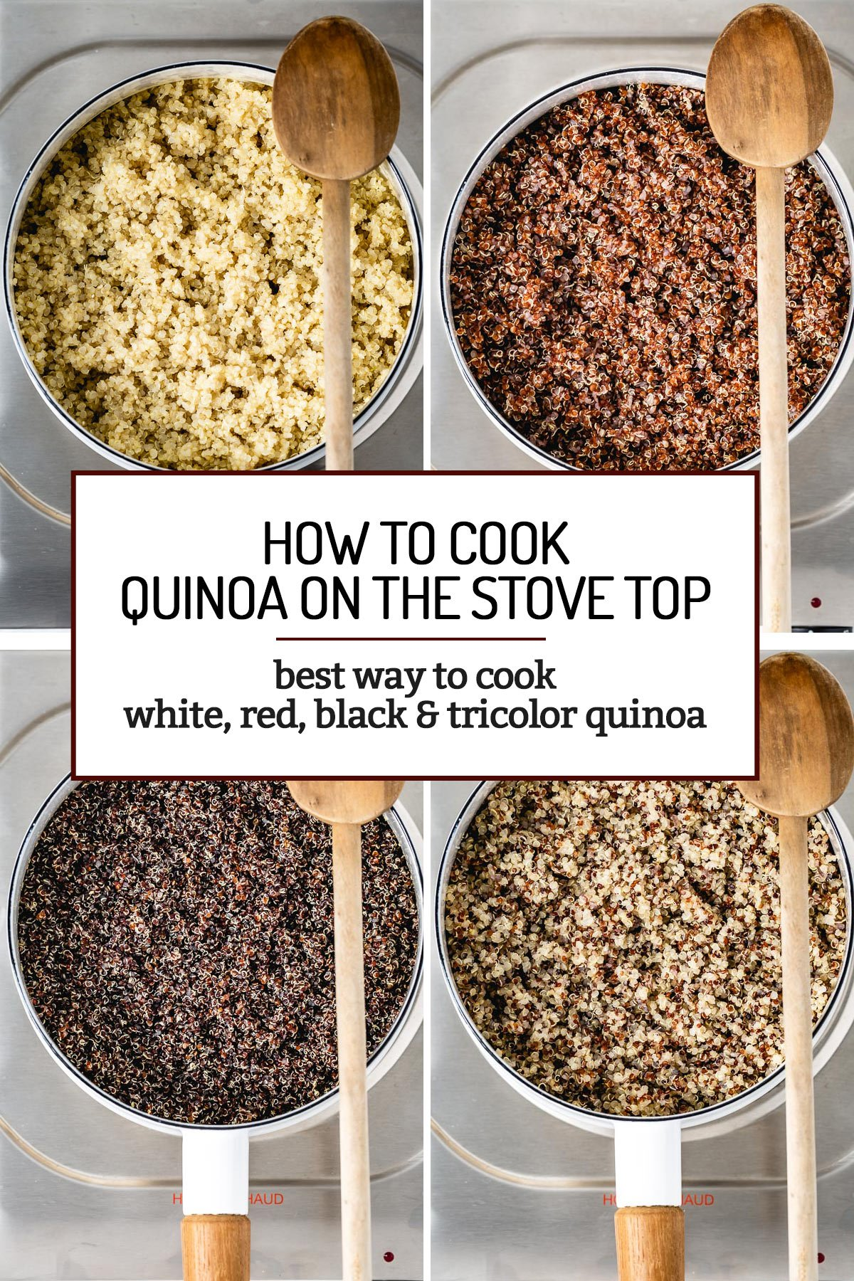 White, red, black, and tricolor cooked quinoa fluffed in pan with wooden spoon on the side
