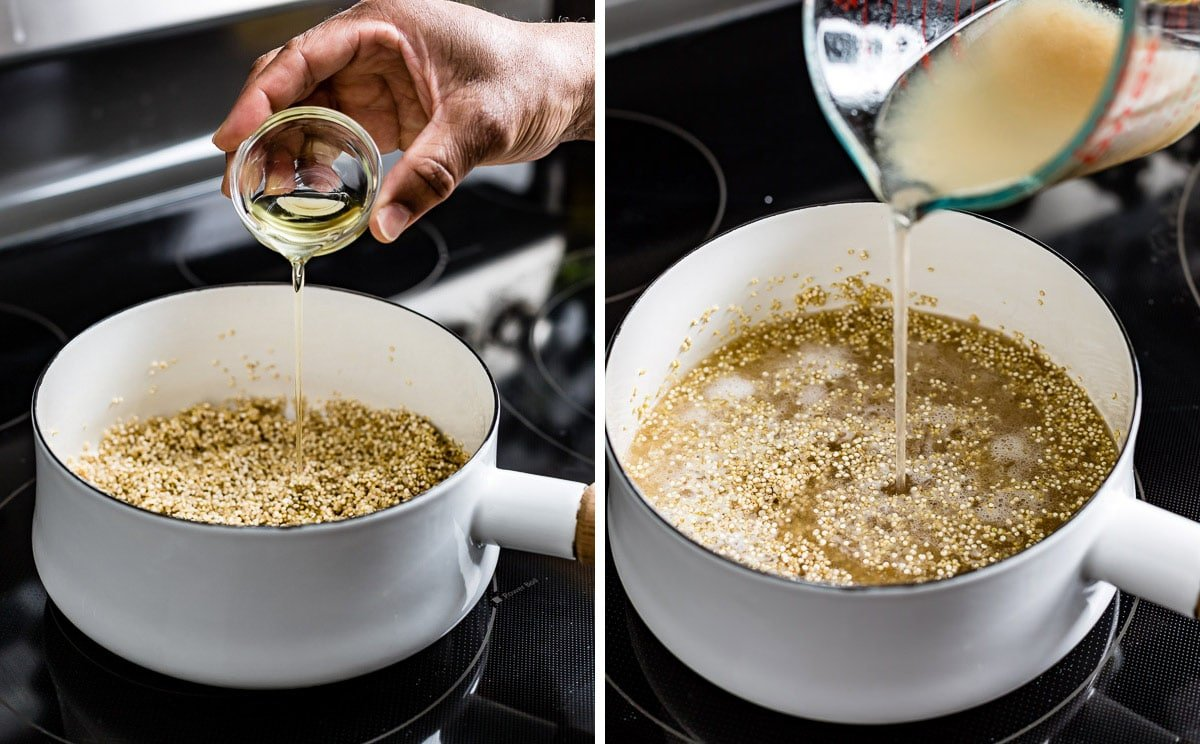 Person flavoring quinoa with oil and chicken stock