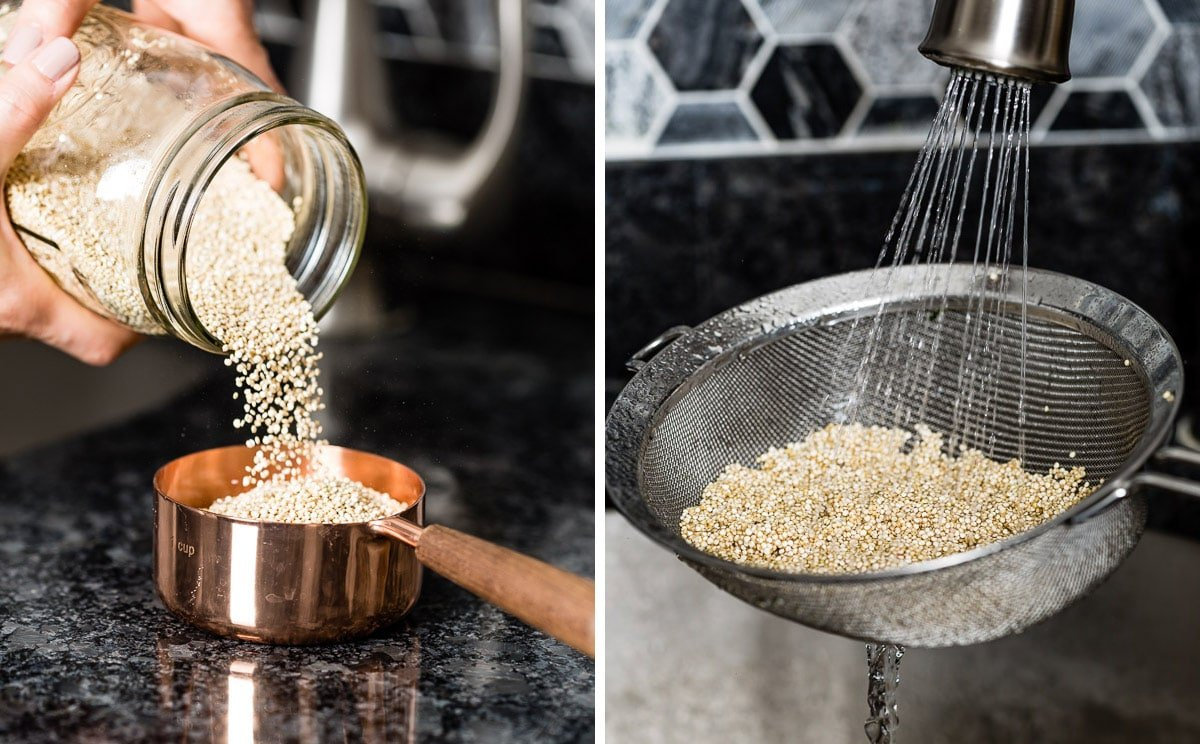Person measuring and rinsing quinoa