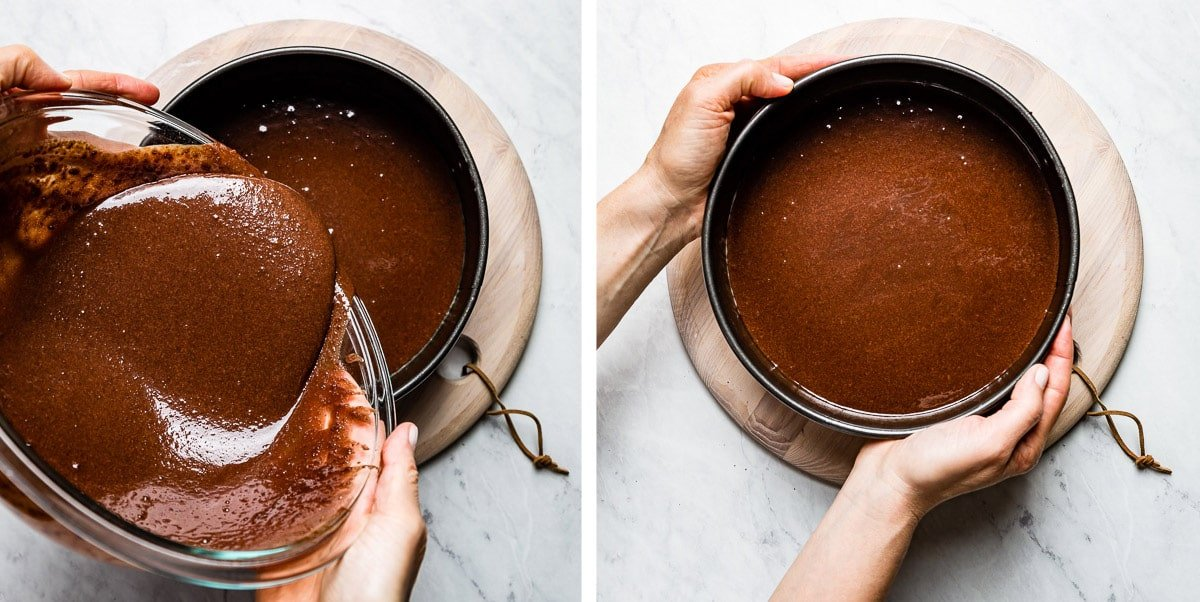 person pouring chocolate cake batter to the pan and leveling it