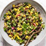 Quinoa Black Bean Salad in a bowl with a spoon