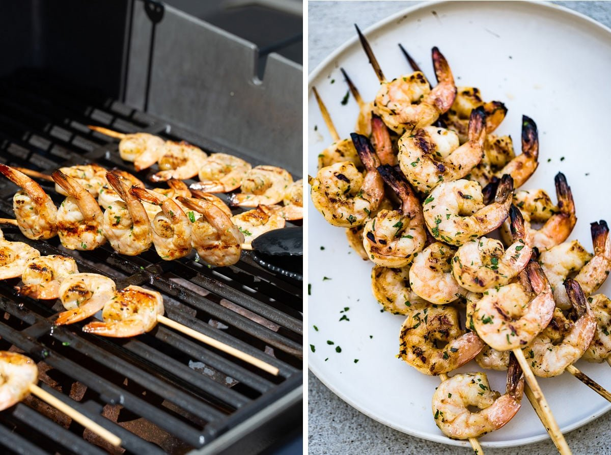 Showing how to cook marinated shrimp on the grill