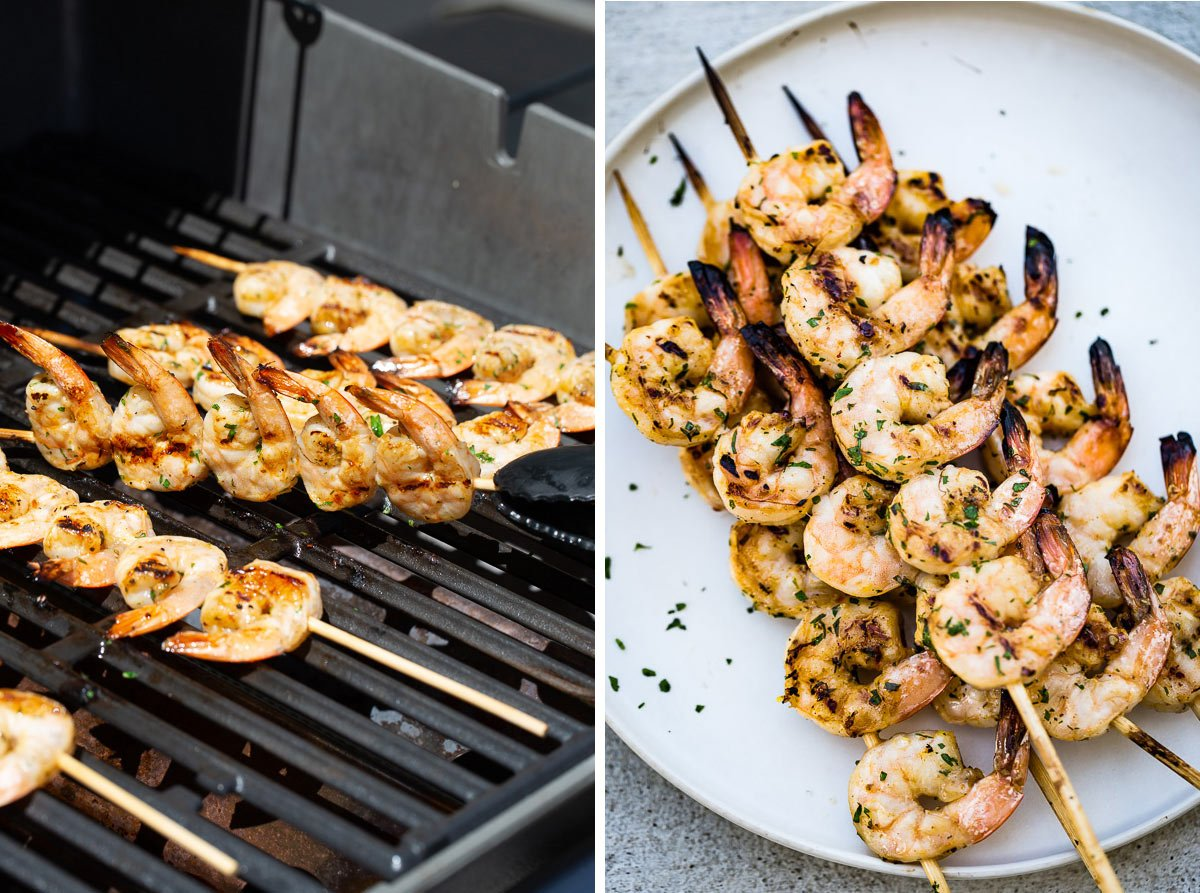 Person showing how to barbecue shrimp on the grill