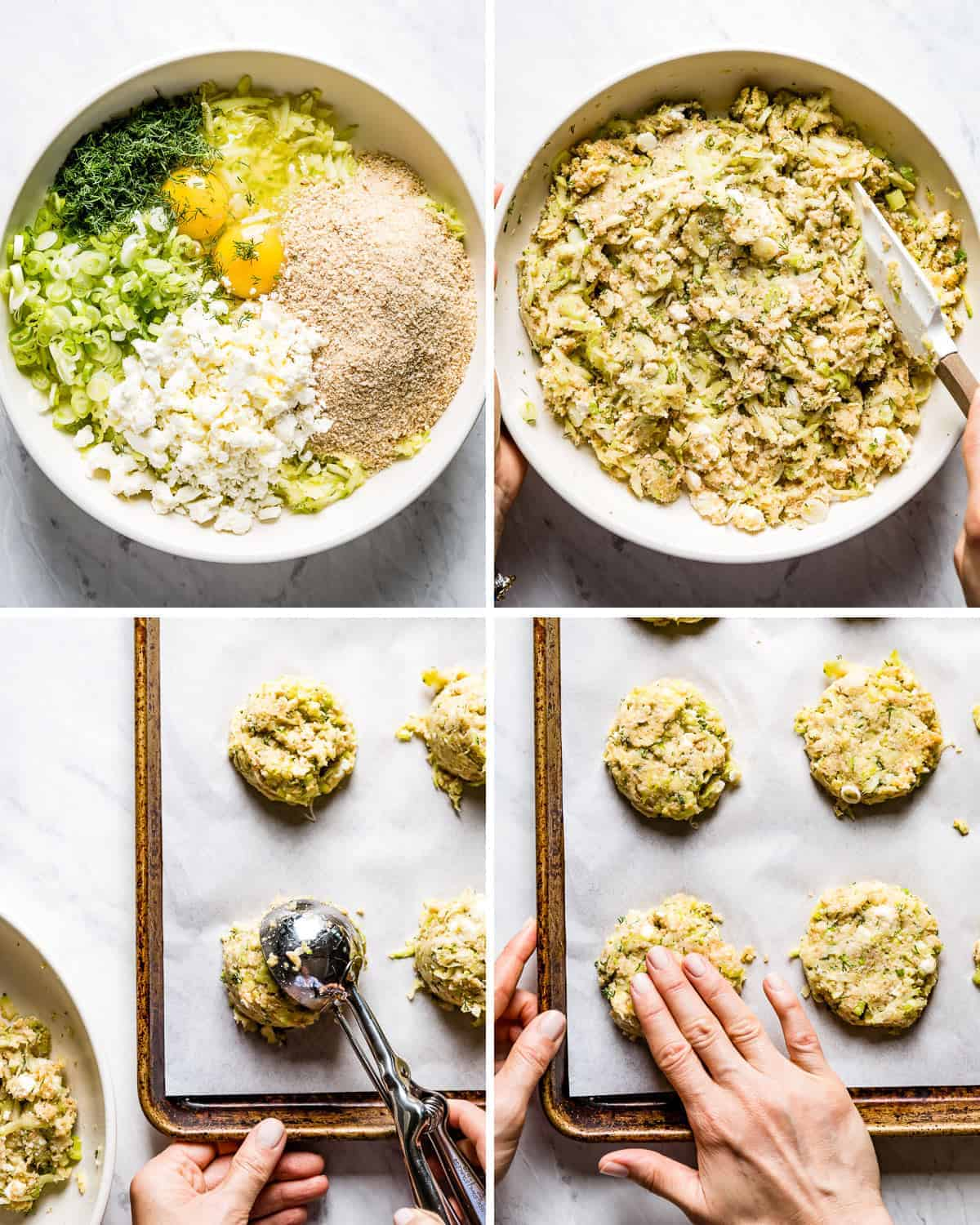 Four images showing how to make courgette patties