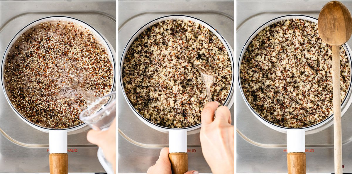 Steps showing how to cook quinoa for salad