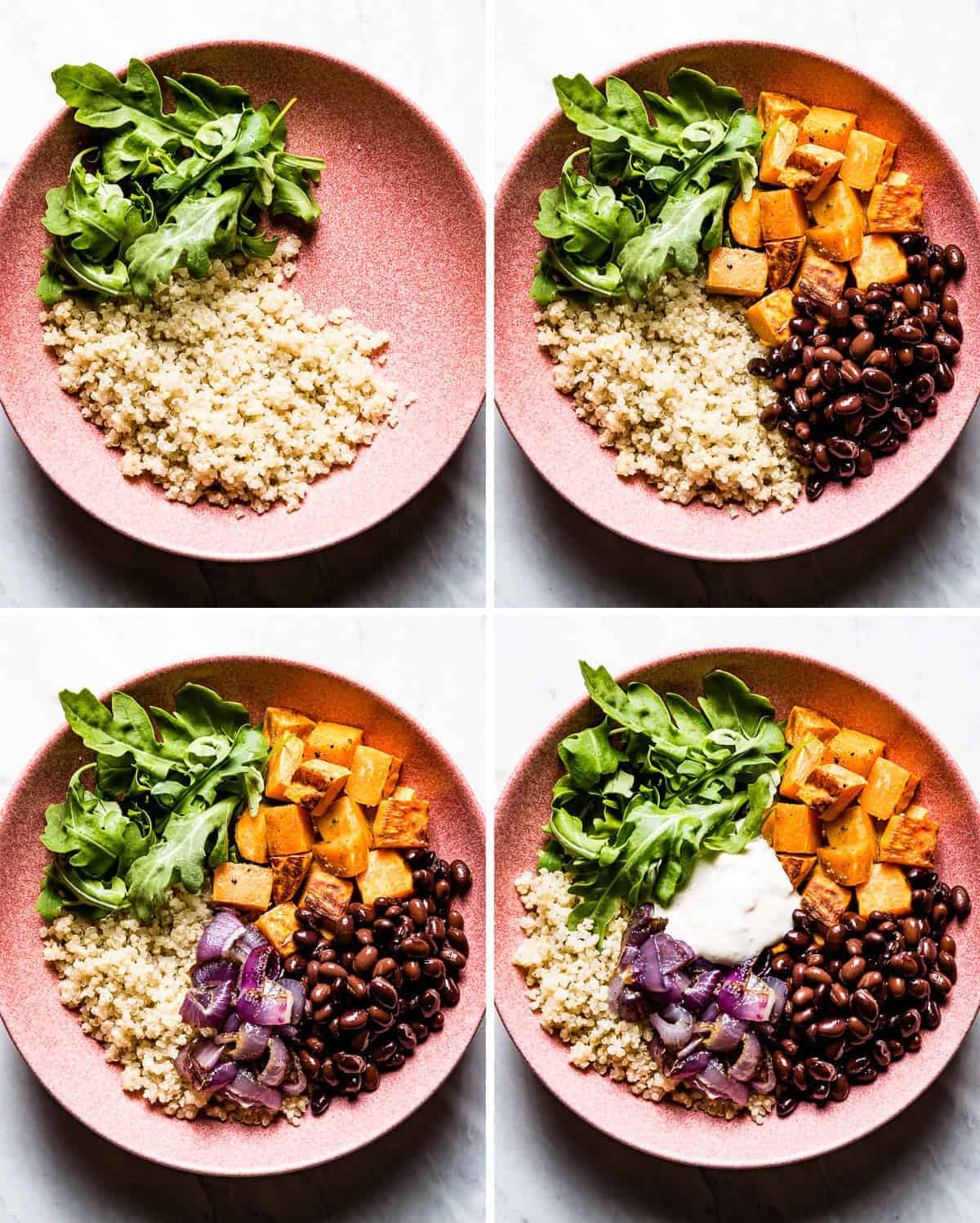 4 photos showing how to assemble this quinoa bowl recipe