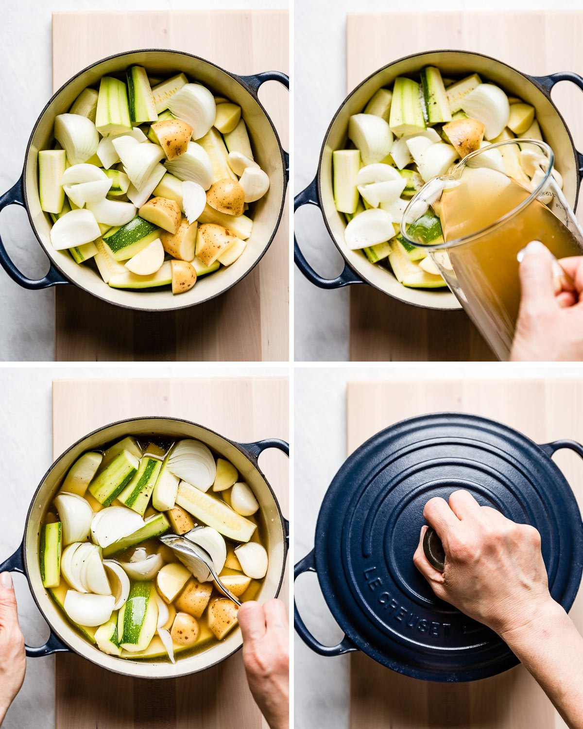 person showing the step of making courgette soup in four step by step photos