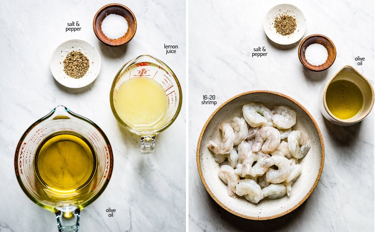 Ingredients for dressing and the shrimp from top view