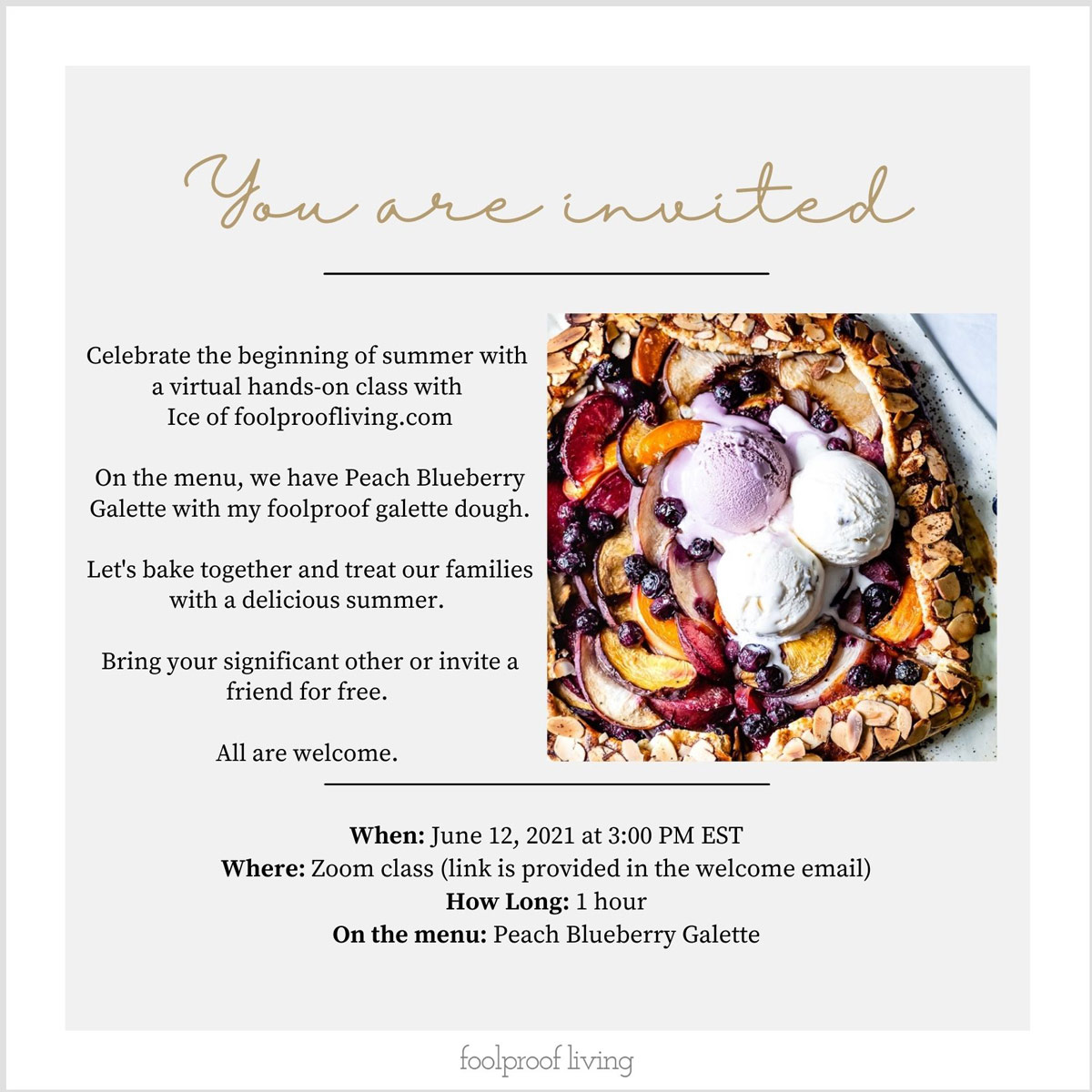 Invitation for the live baking class