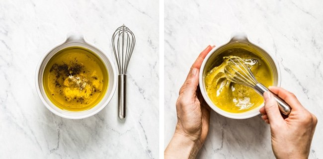 Person showing how to make quinoa salad dressing