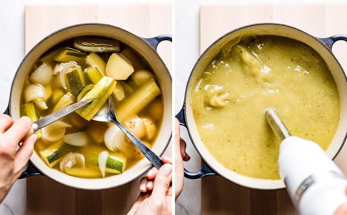 person showing the doneness of veggies and blending the soup in two how to photos.