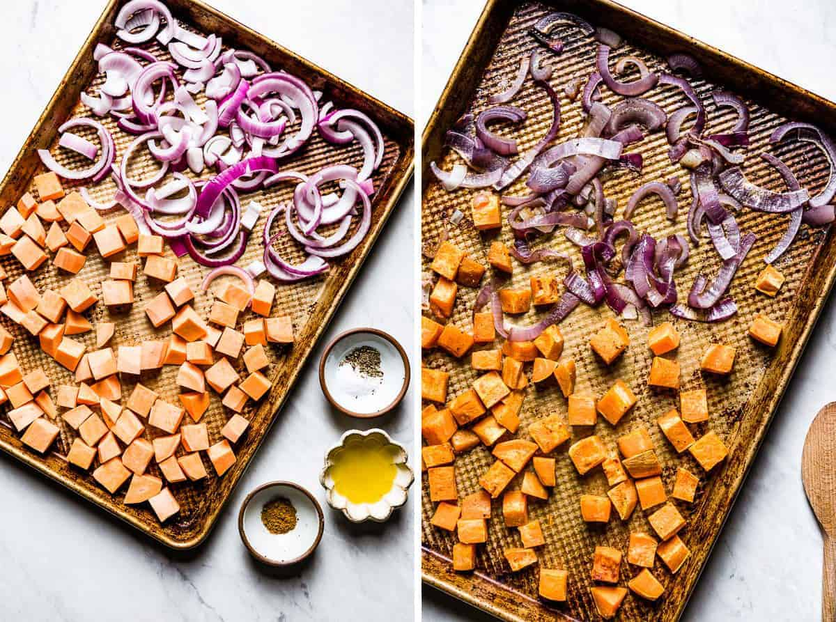 red onion and sweet potatoes are on a sheet pan before and after they are roasted