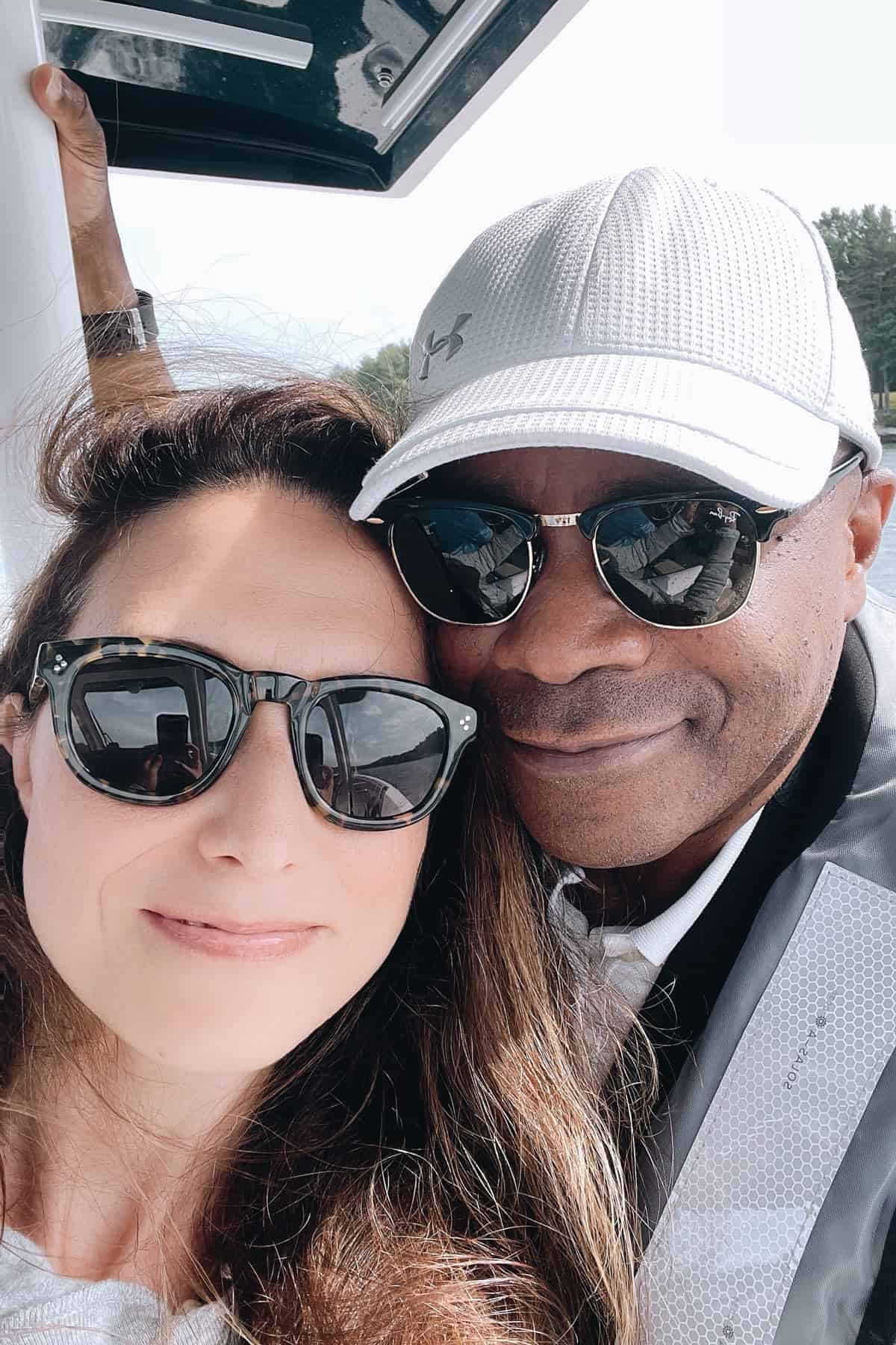Dwight and Aysegul Sanford on a boat trip in Maine