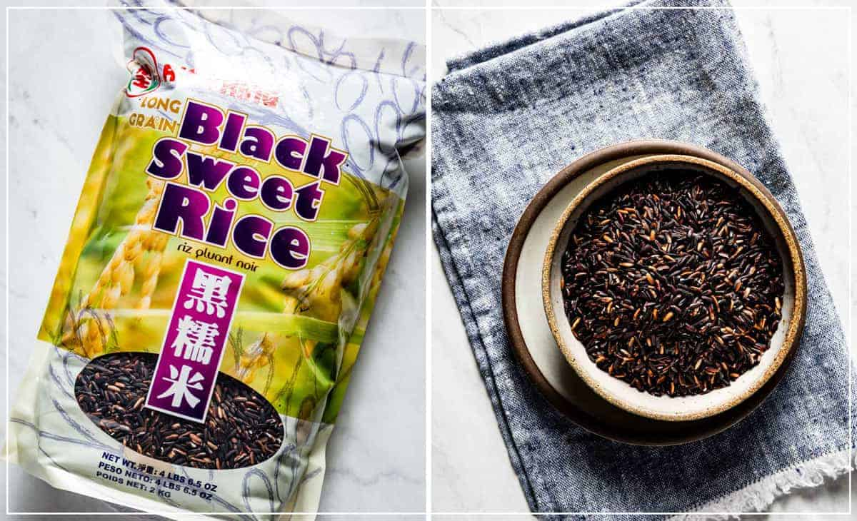 Black Thai Glutinous Rice in its package and in a bowl