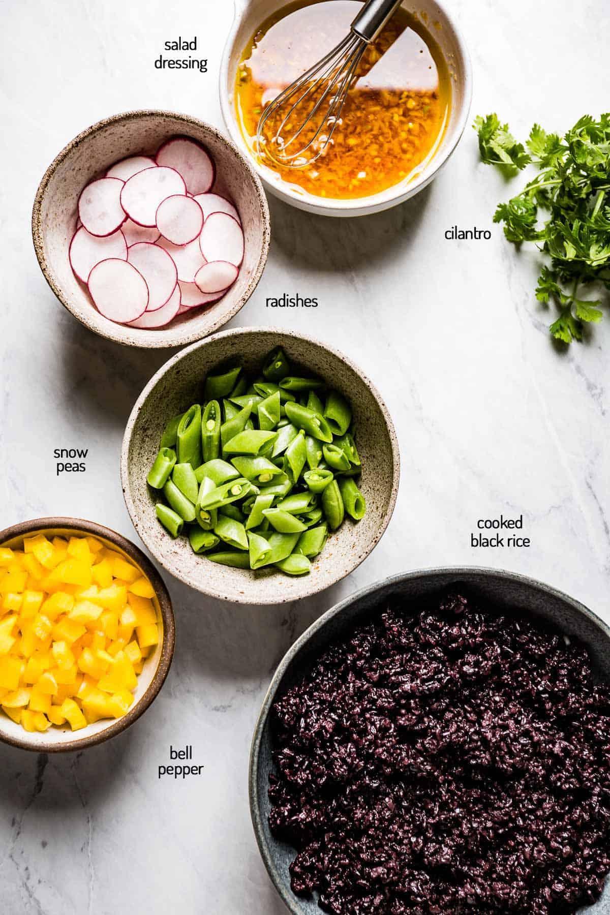 Ingredients for forbidden rice salad
