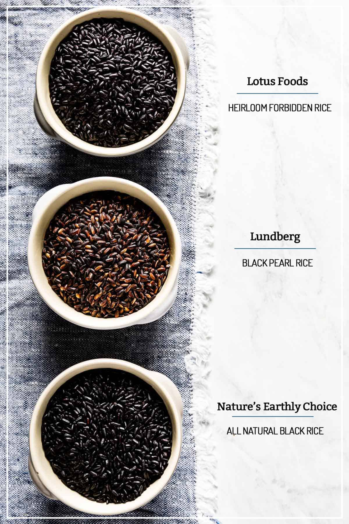 A bowl of forbidden rice, black pearl rice, and natural black rice