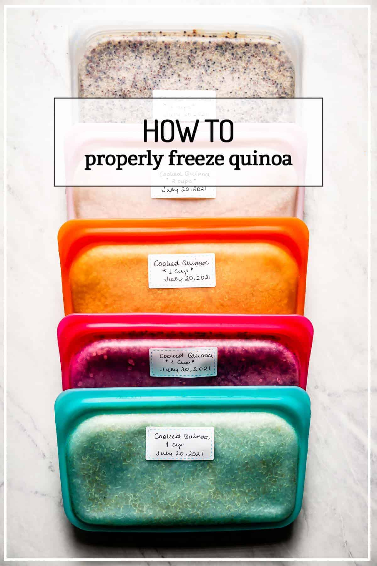 Frozen quinoa portioned out with text on the image
