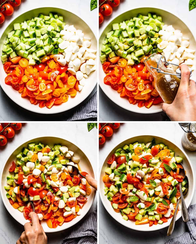 Photos showing how to make tomato mozzarella cucumber salad