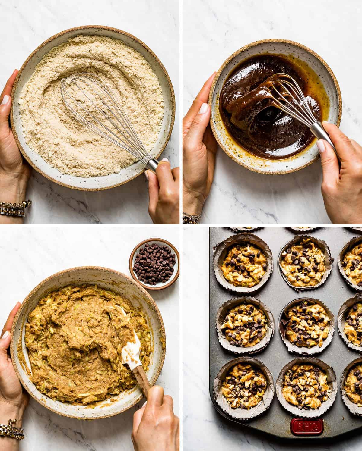 Person showing the steps of making these healthy zucchini muffins